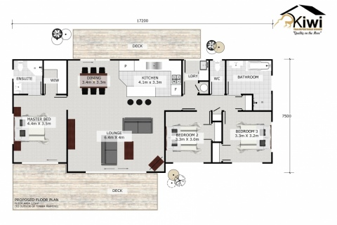 Kiwi - 3 Bedroom - Floorplan